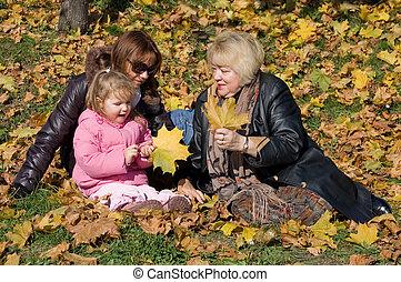 幸せな家族, 中に, 秋, 公園