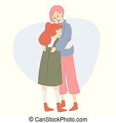 幸せな家族, 母, 娘, hugs., 愛