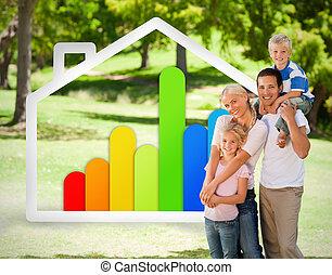 幸せな家族, 近くに, へ, ∥, エネルギー, effiecient, 家, イラスト