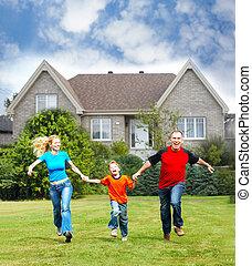 幸せな家族, 近くに, 新しい, house.