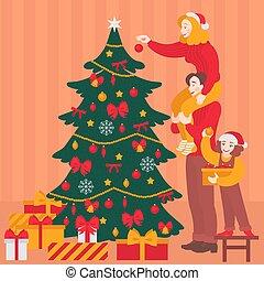 幸せな家族, 飾り付けなさい, クリスマスツリー, 一緒に。, 伝統的である, 休日, 祝福, パーティー, 朗らかである, 親, ∥で∥, child., 母, 父, そして, aughter, 中に, santa, hat., 新年, グリーティングカード