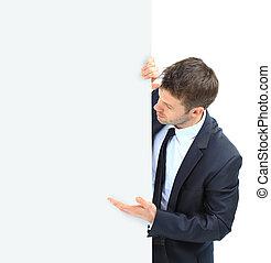幸せな微笑すること, ビジネス男, 提示, ブランク, 看板, 隔離された, 上に, 白い背景
