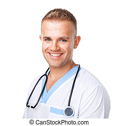 幸せな微笑すること, ユニフォーム, 若い医者