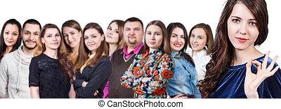 幸せな微笑すること, 若い, 人々のグループ