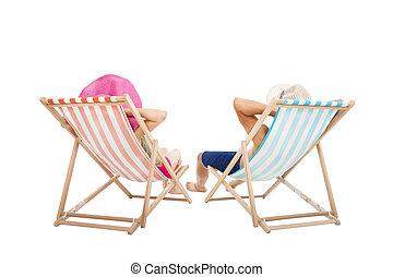 幸せな カップル, ビーチの上に座る, 椅子, 隔離された, 白