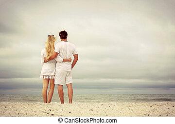 幸せな カップル, 海洋, 浜, 座りなさい