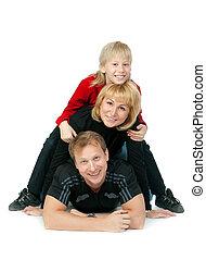 幸せ, あること, 家族, 床