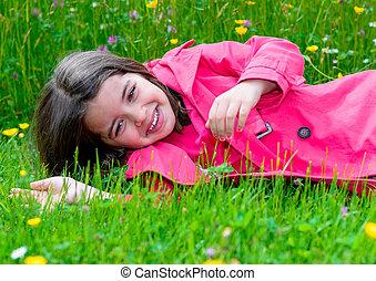 幸せ, かわいい, 子供, あること, 中に, a, 草, の, a, 花園