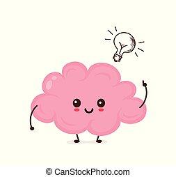 幸せ, かわいい, 脳, 微笑, 面白い