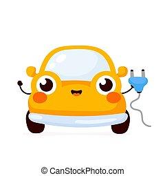 幸せ, かわいい, 車。, ベクトル, 黄色, 電気である