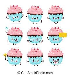 幸せ, かわいい, cupcake, セット, 微笑, コレクション