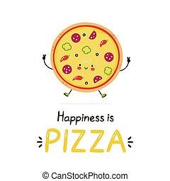 幸せ, かわいい, pizza., 微笑, ベクトル