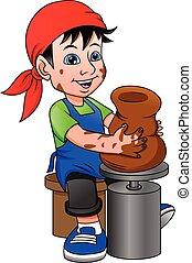 幸せ, わずかしか, つぼ, 車輪, 男の子, 陶器, 作成