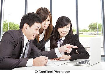 幸せ, アジアのビジネス, チーム, 仕事, 中に, オフィス