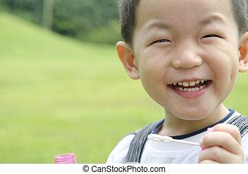 幸せ, アジア人, 遊び, 子供