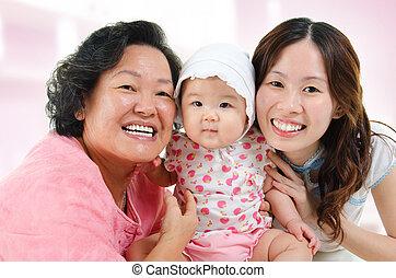 幸せ, アジア 家族, 家で