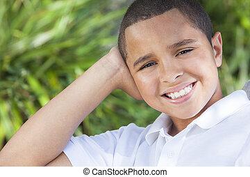 幸せ, アメリカ人, 男の子の 子供, アフリカ