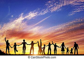 幸せ, グループ, の, 多様, 人々, 友人, 家族, チーム, 一緒に, 手に手をとって