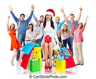 幸せ, グループ, クリスマス, 人々
