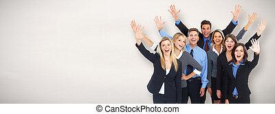 幸せ, グループ, ビジネス 人々
