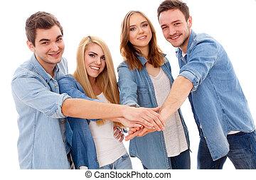 幸せ, グループ, 若い人々