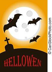 幸せ, コウモリ, フルである, moon., hallowen, 飛行