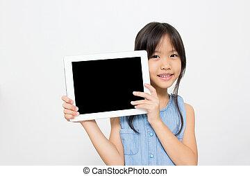 幸せ, コンピュータ, アジア人, タブレット, 子供