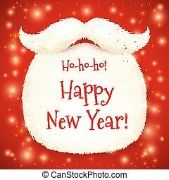 幸せ, サンタ, 印, 背景, 年, 新しい, ひげ, 赤, 照ること