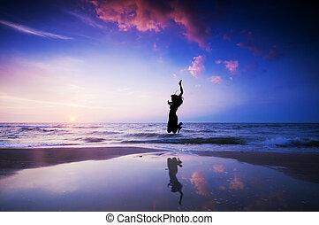 幸せ, ジャンプ, 跳躍, 上に, 浜