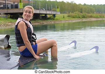 幸せ, スキー, 水, 勉強, 若い 女の子