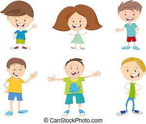 幸せ, セット, 子供, 漫画