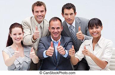 幸せ, チーム, の上, ビジネス, 親指