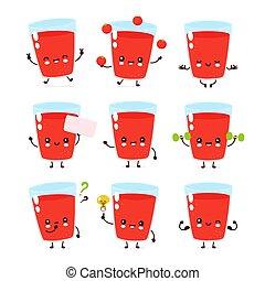 幸せ, トマトジュース, かわいい, セット, 微笑, ガラス
