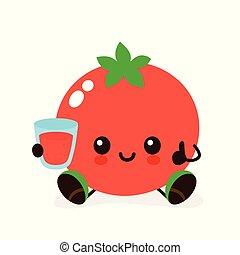 幸せ, トマト, かわいい, 微笑, ガラス