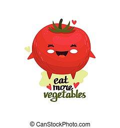 幸せ, トマト, かわいい, 微笑