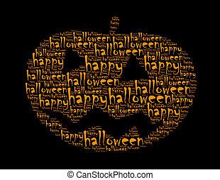 幸せ, ハロウィーン, テキスト, コラージュ, 作曲された, 中に, ∥, 形, の, cucurbit