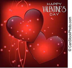 幸せ, バレンタインデー, レタリング, グリーティングカード, 上に, 赤い背景