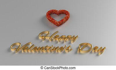 幸せ, バレンタインデー, 3d, render, ∥で∥, 金, テキスト, そして, 赤い心臓