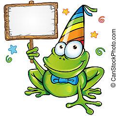 幸せ, パーティー, カエル, 看板