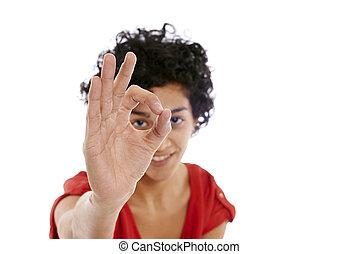 幸せ, ヒスパニックの 女性, すること, わかりました 印, ∥で∥, 手