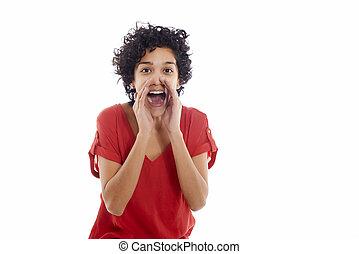 幸せ, ヒスパニックの 女性, 叫ぶ, カメラにおいて
