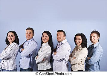 幸せ, ビジネス, グループ, ∥で∥, 微笑の 人々