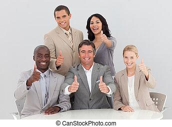 幸せ, ビジネス チーム, 祝う, a, 成功, ∥で∥, 「オーケー」