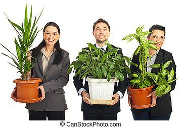 幸せ, ビジネス 人々, 保有物, 花びん, ∥で∥, 植物