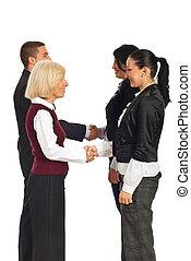 幸せ, ビジネス 人々, 握手