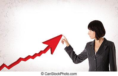 幸せ, ビジネス 女, ∥で∥, 上昇, 矢, 表すこと, ビジネス, growth., ビジネス, 成功, 概念