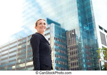 幸せ, ビジネス 女, 歩くこと, 外, 都市で