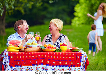 幸せ, ピクニック, 持つこと, 家族, 屋外で