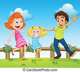 幸せ, フェンス, 丘, 家族, の上