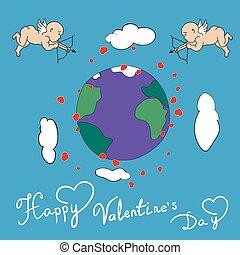 幸せ, ベクトル, 日, キューピッド, バレンタイン